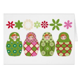 Cartes poupée russe vert