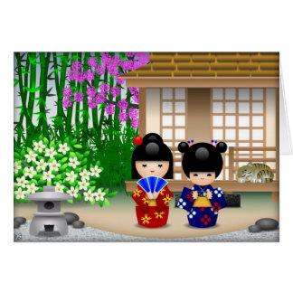 Cartes Poupées et salon de thé de Kokeshi