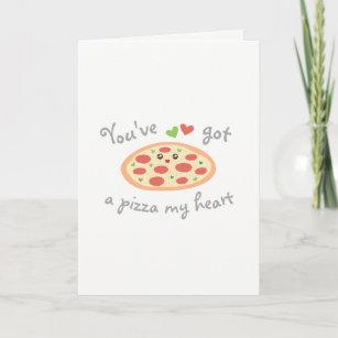 Mignon Drôle Pizza mon cœur St-Valentin personnalisé Carte