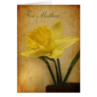 Cartes Pour la mère avec la jonquille
