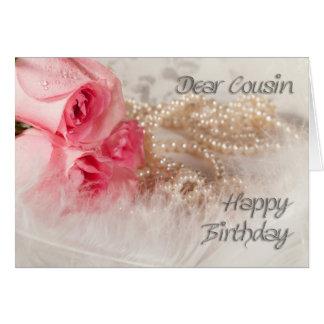 Cartes Pour le cousin, les roses et les perles de joyeux