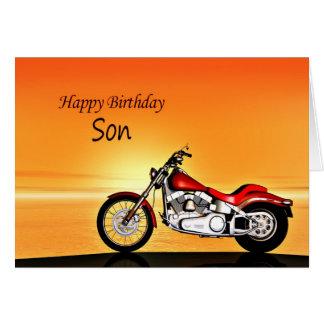 Cartes Pour le fils, moto dans le coucher du soleil
