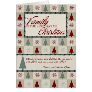 Cartes pour motif d'arbre de Noël de beau-fils le rétro