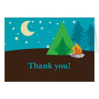 Cartes pour notes de Merci de partie de camping