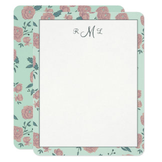 Cartes pour notes de Monogramed de danse de Carton D'invitation 10,79 Cm X 13,97 Cm
