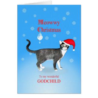 Cartes Pour un filleul, chat de Noël de Meowwy
