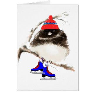 Cartes Poussin de patinage drôle, oiseau mignon de sport