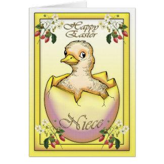 Cartes Poussin heureux de Pâques avec l'oeuf, pour la