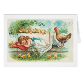 Cartes Poussins de poule de salutations de Pâques et cru