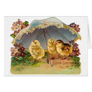 Cartes Poussins heureux de Pâques vintages