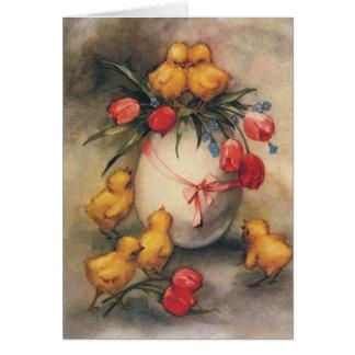Cartes Poussins vintages de Pâques et tulipes