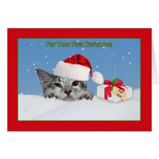 Cartes Premier Noël du bébé, chat dans la neige