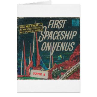 Cartes Premier vaisseau spatial sur le film vintage de