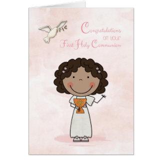 Cartes Première communion, fille à la peau foncée,