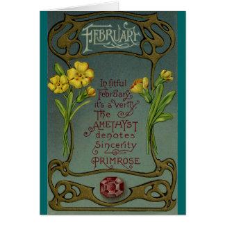 Cartes Primevère et améthyste d'anniversaire de février