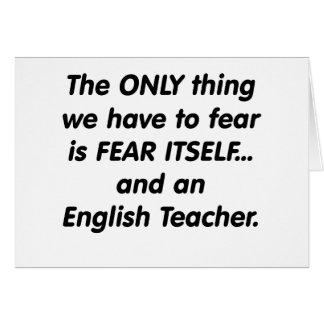 Cartes Professeur d'Anglais de crainte