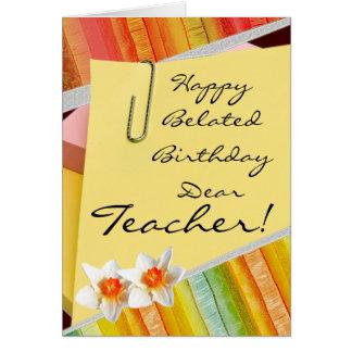 Cartes Professeur tardif heureux d'anniversaire
