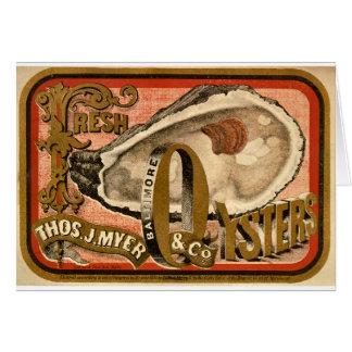 Cartes Publicité vintage d'huîtres fraîches circa 1870