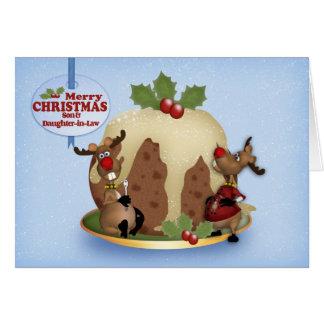 Cartes Pudding et renne de Noël de fils et de belle-fille
