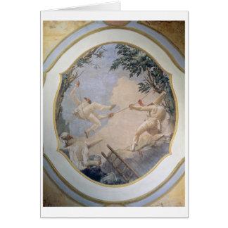 Cartes Pulcinella sur une oscillation, 1797 (fresque)