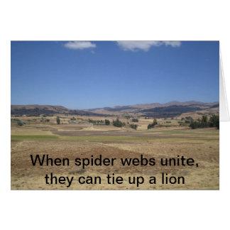 Cartes Quand les toiles d'araignée unissent, elles