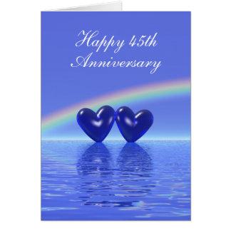 Cartes quarante-cinquième Coeurs de saphir d'anniversaire