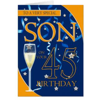 Cartes quarante-cinquième Fils d'anniversaire - verre de