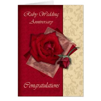 Cartes quarantième Félicitations rouges d'anniversaire de