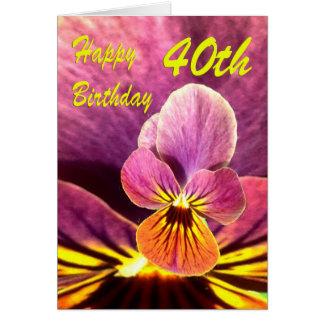 Cartes Quarantième pensée heureuse de fleur