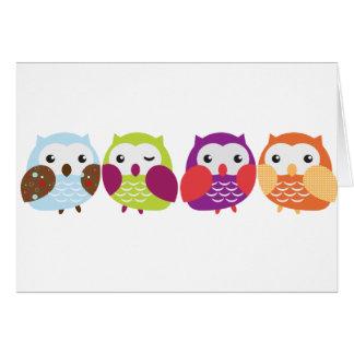 Cartes Quatre hiboux colorés