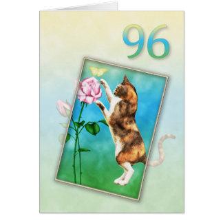 Cartes quatre-vingt-seizième Anniversaire avec un chat