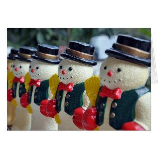 Cartes Rangée des bonhommes de neige vintages