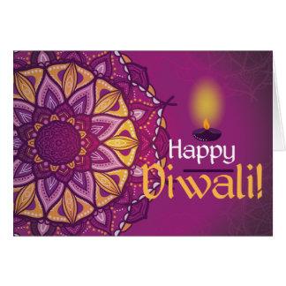 Cartes Rangoli ornemental pourpre de diwali heureux