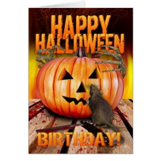 Cartes Rat de citrouille de Halloween d'anniversaire,