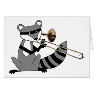 Cartes Raton laveur jouant le trombone