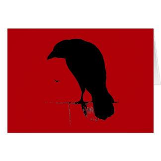Cartes Raven vintage sur le modèle rouge sang