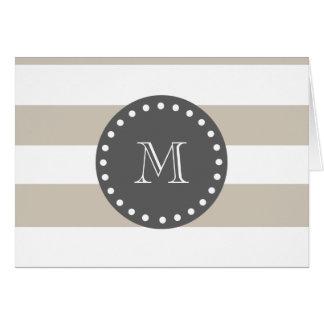 Cartes Rayures blanches beiges motif, monogramme de