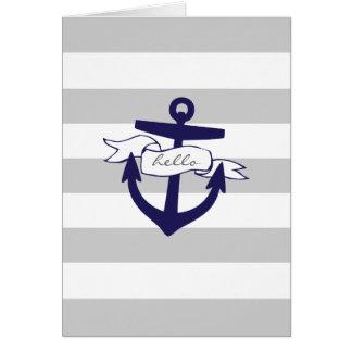 Cartes Rayures nautiques de gris et de marine et ancre
