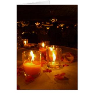 Cartes Réception illuminée par des bougies
