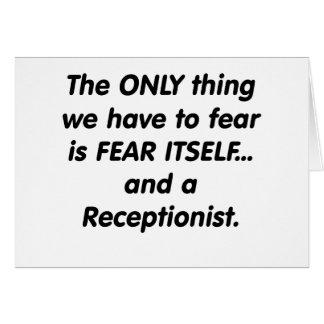 Cartes réceptionniste de crainte