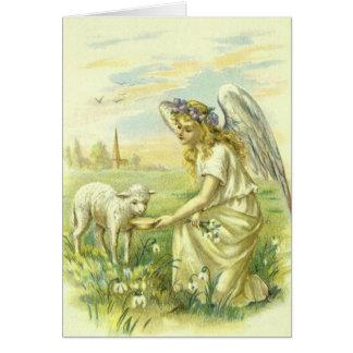 Cartes Religion vintage, ange victorien de Pâques avec
