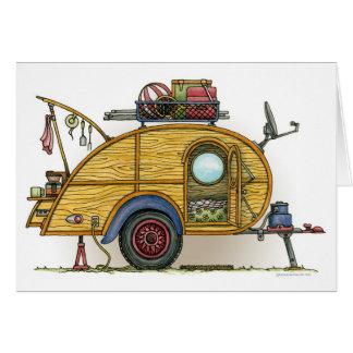Cartes Remorque vintage mignonne de voyage de campeur de