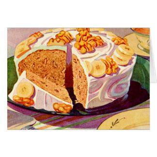 Cartes Rétro art vintage de gâteau de noix de banane de