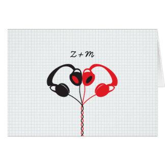 Cartes Rétro coeur indépendant d'écouteurs épousant le