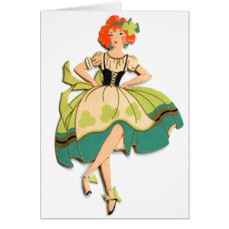 Cartes Rétro kitsch vintage dansant la fille irlandaise