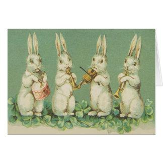 Cartes Rétro orchestre vintage de lapins de lapin de