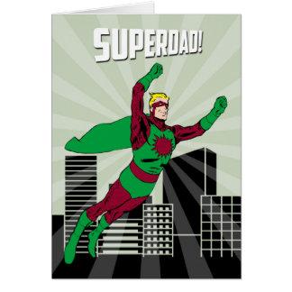 Cartes Rétro papa de super héros dans le ciel pour la