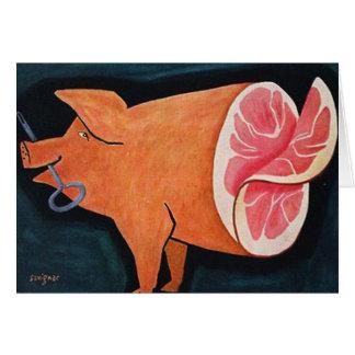 """Cartes Rétro porc vintage """"Ham découpé en tranches de"""