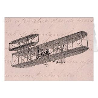 Cartes Rétro vieux rose d'avion de biplan d'avion vintage