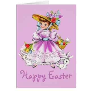 Cartes Rétro/vintage fille de Pâques